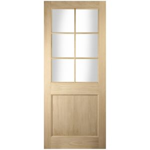 View Oak Veneer Partially Glazed External Front/Back Door, (H)2032mm (W)813mm details