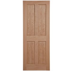 View 4 Panel Oak Veneer Internal Fire Door, (H)1981mm (W)686mm details