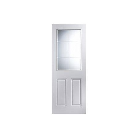 panel pre painted white woodgrain glazed internal door h 2040mm w. Black Bedroom Furniture Sets. Home Design Ideas