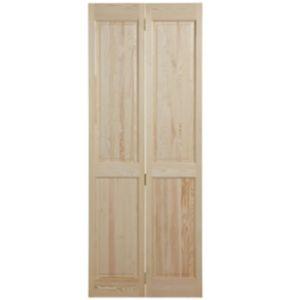 Image of 4 Panel Clear Pine Unglazed Internal Bi-Fold Door (H)1981mm (W)686mm