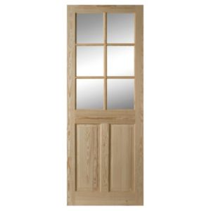 View 6 Panel Clear Pine Glazed Internal Glazed Door, (H)1981mm (W)838mm details
