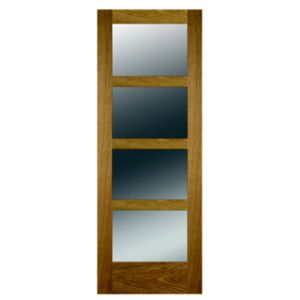 View 4 Panel Shaker Oak Veneer Glazed Internal Door, (H)1981mm (W)579mm details