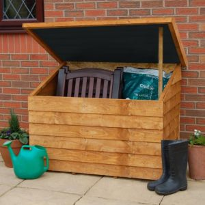 View 4X3 Overlap Wooden Garden Storage Chest & Easy Fit Roof details