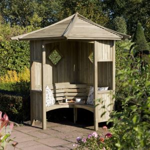 View Elegant Wooden Corner Arbour - with Assembly Service details