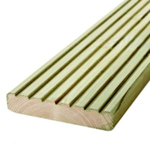 View Metsä Wood Deck Board Green Softwood Reversible Deck Board (W)144mm (L)2400mm (T)28mm, Pack of 5 details