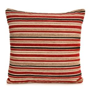 View Sedum Stripe Red, Beige & Black Cushion details