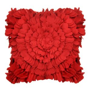 View Carnation Felt Heart Strawberry Red Cushion details