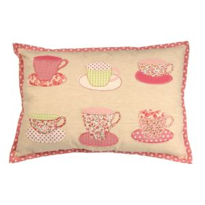 View Hyacinth Teacups Cream & Pink Cushion details