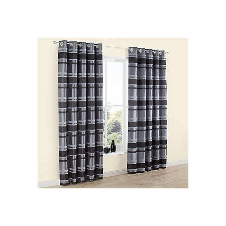 Dill Black & Grey Striped Faux Silk Eyelet Lined Curtains (W)228cm ...