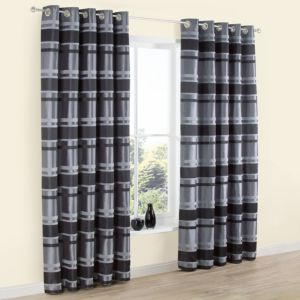 View Dill Black & Grey Stripe Jacquard Faux Silk Eyelet Curtains (W)228cm x (L)228cm details