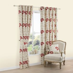 View Geranium Cream & Red Floral Jacquard Woven Eyelet Curtains (W)228cm x (L)228cm details