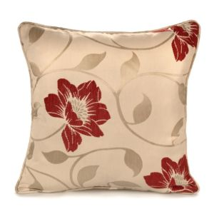View Geranium Jacquard Flower Cream & Red Cushion details
