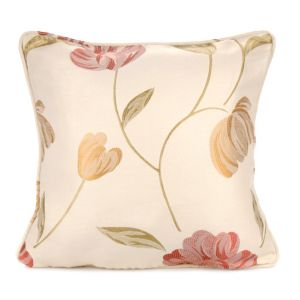 View Buttercup Floral Jacquard Cream, Gold Effect, Green & Red Cushion details