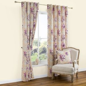 View Calendula Cream & Purple Floral Print Printed Eyelet Curtains (W)228cm x (L)228cm details