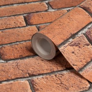 Brick effect red wallpaper departments diy at b q for Home wallpaper b q