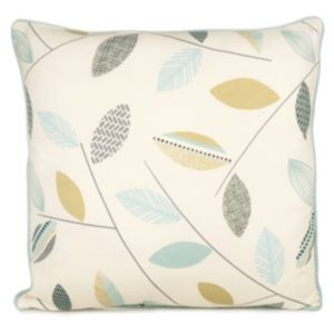 View Amena Leaf Print Cream, Blue & Green Cushion details