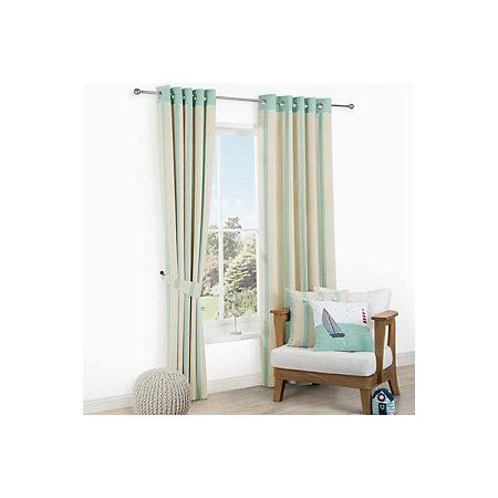 Saunton Cream & Duck Egg Blue Striped Eyelet Lined Curtains (W ...