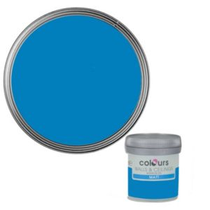 Colours Electric Blue Matt Emulsion Paint 50ml Tester Pot