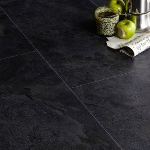 View Colours Black Modern Slate Effect Vinyl Tile Sample 0.05m² details