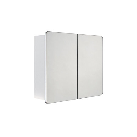 cooke lewis lesina double door white mirror cabinet rooms diy at