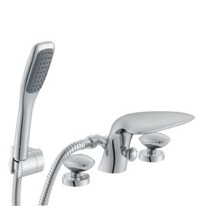 View Cooke & Lewis Pebble Chrome Bath Shower Mixer Tap details