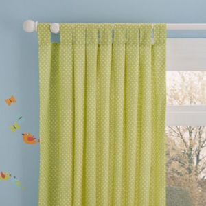 Image of Owl Green & White Spotty Tab Top Lined Children's Curtains (W)168 cm (L)137 cm