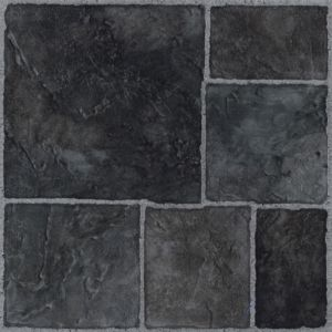 Image of Colours Black Stone effect Self adhesive Vinyl tile 1.02 m² Pack
