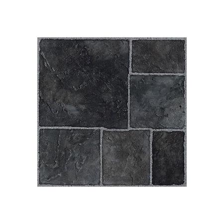Colours Black Stone Effect Self Adhesive Vinyl Tile 1 02 M² Pack