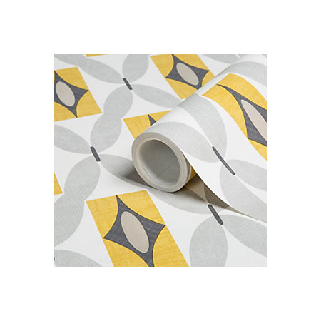 Colours orsino yellow geometric wallpaper clearance for B q bedroom wallpaper