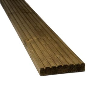 View Premium Brown Softwood Reversible Deck Board (W)144mm (L)3600mm (T)28mm details