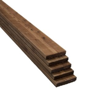 View Premium Brown Softwood Reversible Deck Board (W)144mm (L)2400mm (T)28mm, Pack of 5 details