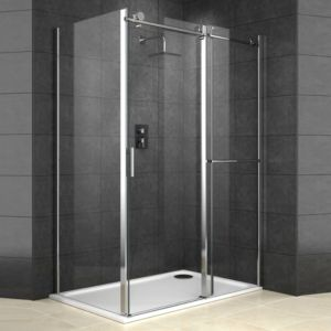 View Cooke & Lewis Eclipse Rectangular Shower Enclosure, Tray & Waste RH (W)1400mm (D)900mm details