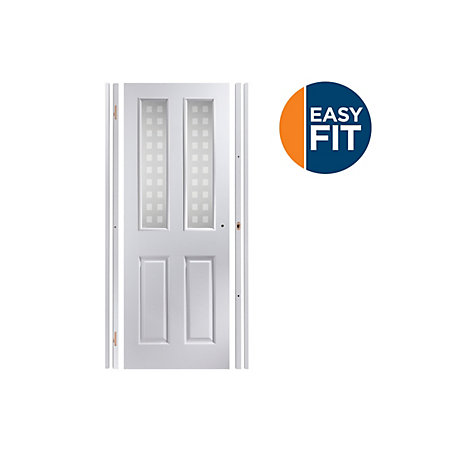 4 Panel Pre Painted White Glazed Internal Door Kit For Opening Sizes W 759 771mm H 1988