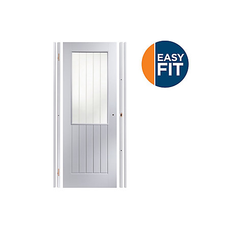 Cottage Panel Pre Painted White Glazed Internal Door Kit For Opening Sizes W 759 771mm H 1988