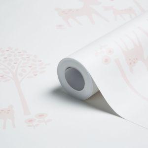 Image of Baby Colours Little Deer Pink Wallpaper