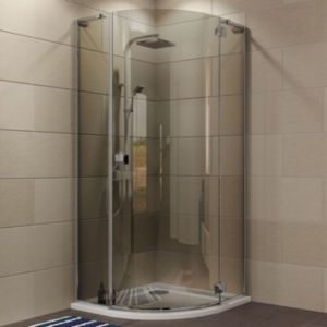 View Cooke & Lewis Luxuriant Quadrant Shower Enclosure with Hinged Door & Smoked Glass (W)870mm (D)870mm details