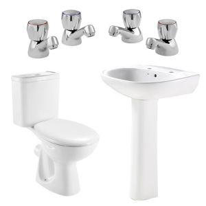 Plumbsure Truro Toilet  Basin & Tap Pack