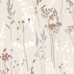 Colours Hayfield Cream & Red Thistle Wallpaper