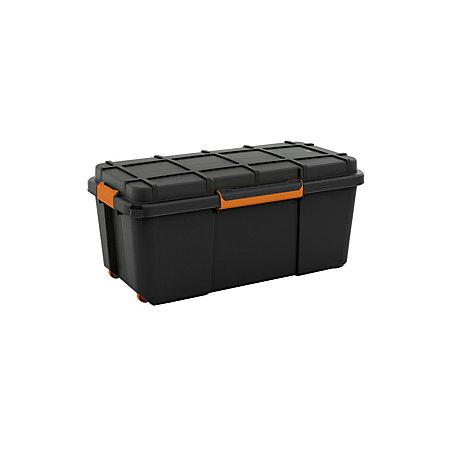 flexi store heavy duty black matt 74l plastic large stackable nestable waterproof storage box. Black Bedroom Furniture Sets. Home Design Ideas