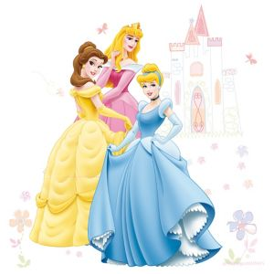 Image of Disney Princess Multicolour Self adhesive Wall sticker (L)1000mm (W)700mm