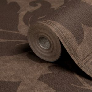 View Impala Damask Brown Leather Effect Wallpaper details