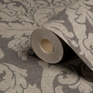 View Kensington Damask Charcoal Metallic Effect Wallpaper details