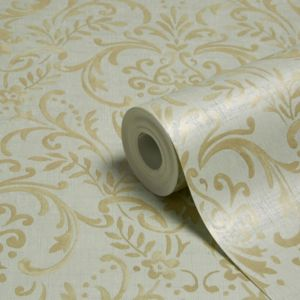 Grandeco Prestige Duck Egg Damask Mica Wallpaper