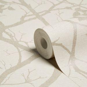 Image of Grandeco Standards Cream Foliage Mica Wallpaper