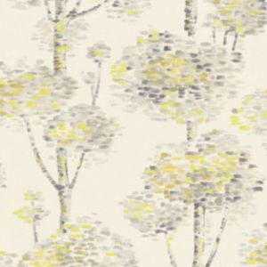 Image of Wall Fashion Painterly Grey & yellow Tree Wallpaper