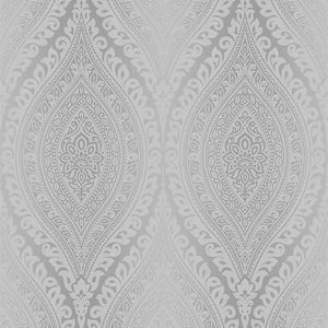 Image of Gold Kismet Silver Damask Glitter effect Wallpaper