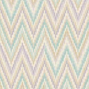 Image of Wall Fashion Origine Green & purple Geometric Wallpaper