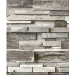 Image of Gold Horizontal Wood Grey Faux wall Wallpaper