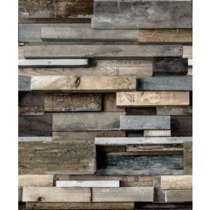 Image of Gold Horizontal Wood Brown Faux wall Wallpaper