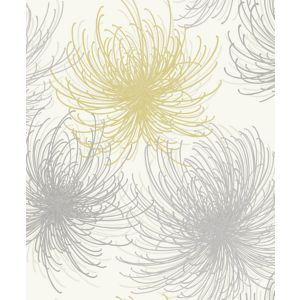 Image of Gold Cosmo Yellow & grey Floral Glitter effect Wallpaper